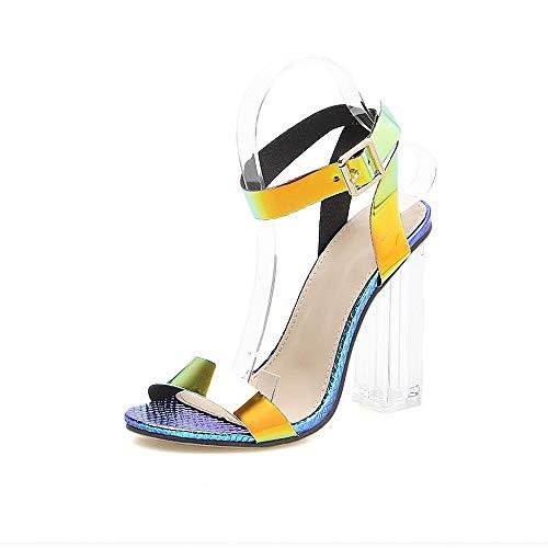 VJGOAL Sandalias para Mujer Moda Casual Punta Abierta Tobillo Hebilla Correa Transparente talón Cuadrado Súper Zapatos de tacón Alto(37 EU,Multicolor)
