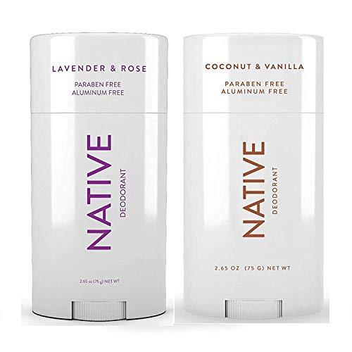 Native Deodorant - Natural Deodorant For Women and Men - 2 Pack - Aluminum Free, Free of Parabens - Contains Probiotics - Coconut & Vanilla And Lavender & Rose