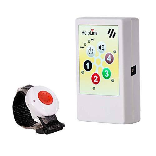 HelpLine 2.0: Hausnot-Ruf mit Funk-Notruf-Armband, Personenruf-System für zuhause, Ruf-Set für Notfälle