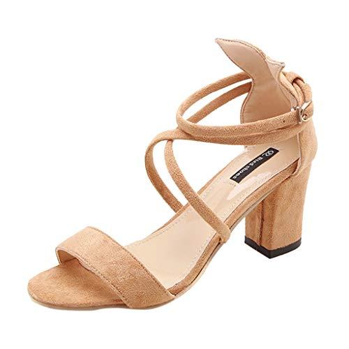 DressLksnf Sandalias de Tacón Alto para Mujer Casual de Talón Grueso Sandalias Correas Cruzadas de Tacones Altos Punta Abierta Zapatillas de Vestir Zapatos Baile Latino Sandalias de Playa
