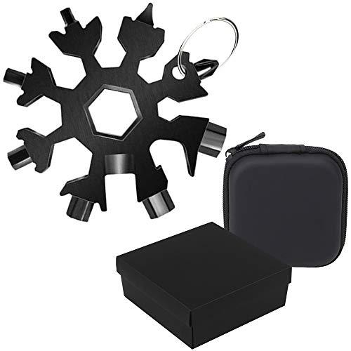 Schneeflocken Multifunktionswerkzeug | 18 in 1 Universal Werkzeug in schwarz mit Schlüsselanhänger + Aufbewahrungscase + passender Geschenkbox für Männer