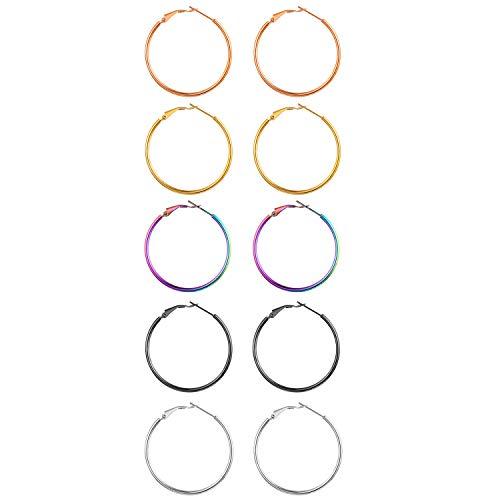 Aroncent 5 Pares de Anillos de Oreja Pendientes de Aro de Acero Inoxidable Quirúrgico Elegante Piercing Pulido de Color Plata Dorado Negro Multicolor y Oro Rosado 10 Piezas Conjuntos 30mm