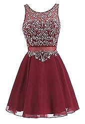 Burgundy Short Chiffon Dress Rhinestone Beaded Cocktail Gown
