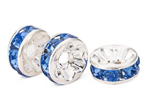 MeterMall nieuw voor MBOX verzilverde strass kristal Rondelle spacer kralen 8mm (blauw)