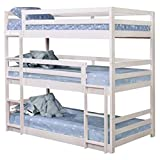 Pemberly Row Triple Twin Bunk Bed in White