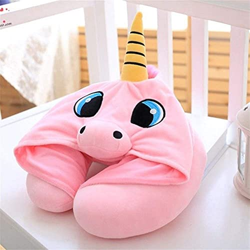 Peluche muñeca figurina juguete mascota almohada animal, encantador unicornio capucha cuello u almohada decorativo azul rosa suave oficina siesta cojín lindo dibujos animados muñeca peluche juguete re