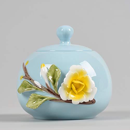 Funeral Urn Embossed Flower Funeral Ash Urns Pet Memorial Ceramics Urn Hand Made Cat Dog Ashes Cremation Keepsake 9/11 (Color : Blue)