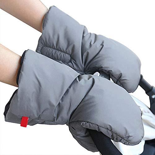 Calentador de manos para cochecito de bebé, universal, invierno, cálido, resistente al agua, al viento, antideslizantes, guantes de exterior, color gris