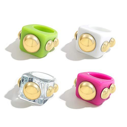 Sloong - 4 anillos de plástico de resina acrílica estilo retro y grueso, para niños, diseño de caramelos