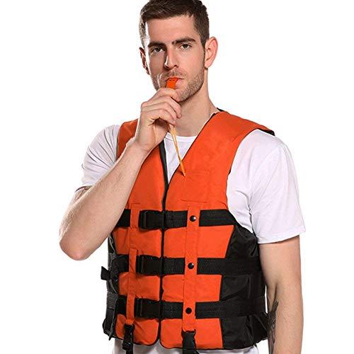 ライフジャケット Vkaiy 救命胴衣 呼び子付け フローティングベスト ホイッスル 緊急時に役立つ 強い浮力 高い負荷力 安全安心 5サイズに選択可能 子供用 大人用 男女兼用 釣り 漂流 海水浴 川遊び 湖 キャンプなどに最適 (XXL-体重90kg 以下, オレンジ)