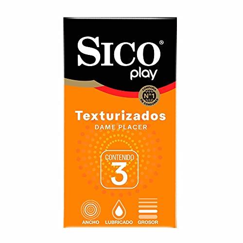 Sico Play ¡Dame Placer! Condones de hule látex natural texturizados cartera con 3 piezas