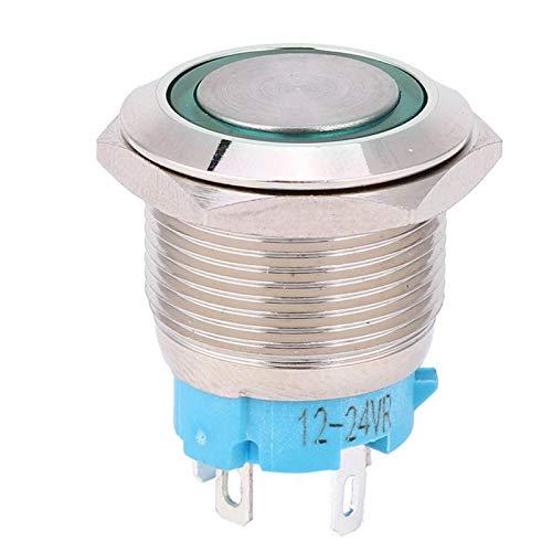 Interruptor de botón, interruptor de botón de 4 pines, 1NO a prueba de óxido resistente a la corrosión para Silver Point 12~24VDC 2pcs toque cómodo(green)