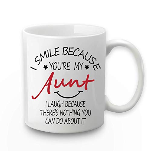 Taza con texto 'I Smile Because You Are My Aunt I Smile Because Your My Aunt Mug Coffee Mug For Aunt Auntie from Nephew Niece (350 ml)
