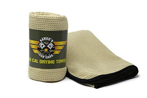 Sarge's Car Care .50 CAL CAR DRYING TOWEL - XL-Size (27 in x 39 in) - Premium Silk Bound Waffle Weave Microfiber for Maximum Absorption - Bound in Silk to Deliver a Durable Snag-free & Tear-free Towel