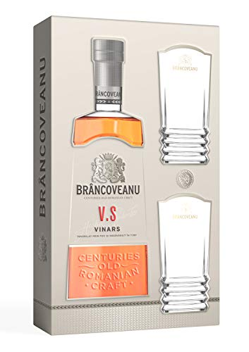 Brancoveanu VS Vinars – 700 ml quemado de vino de los Cárpatos 40% Vol. Juego de 2 vasos