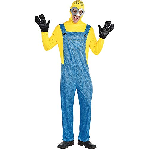 Party City Minion Halloween Costume for Men, Minions: The Rise of Gru, Standard Size, Includes Jumpsuit, Gloves and More