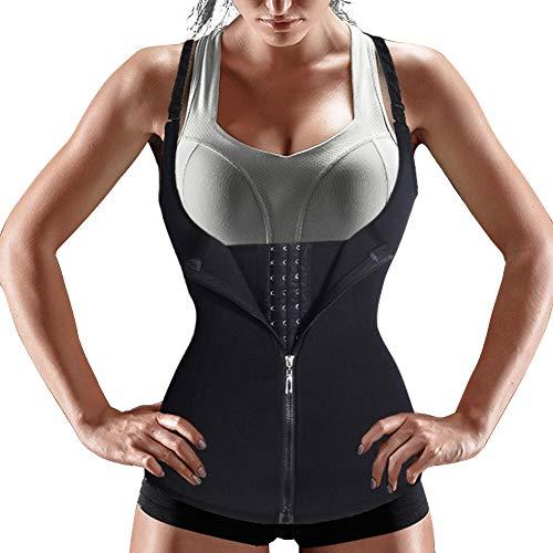 Bingrong Ropa Faja Reductora Mujer Adelgazante Lencería Moldeadora Shapewear Body Waist Trainer Corse de Abdomen Chaleco Moldeador Mujer (Negro, XXX-Large)
