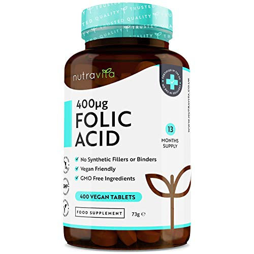 Folic Acid Tablets 400 mcg - 400 Vegan Vitamin B9 Tablets - 13 Month Supply - Pregnancy Care - Normal Function of Immune System & Maternal Tissue Growth During Pregnancy - Made in The UK by Nutravita