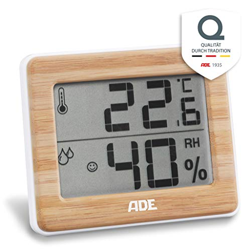 ADE Digitales Thermo-Hygrometer WS1702 mit echtem Bambus. Thermometer mit präziser Anzeige der Temperatur, Hygrometer für Luftfeuchtigkeit und Komfortzonen-Indikator, LCD-Display