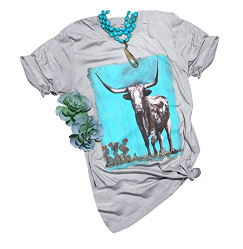 Western Bison Printed T Shirts Womens Western Style Desert Cactus Casual Tops Tees (XL, Gray)
