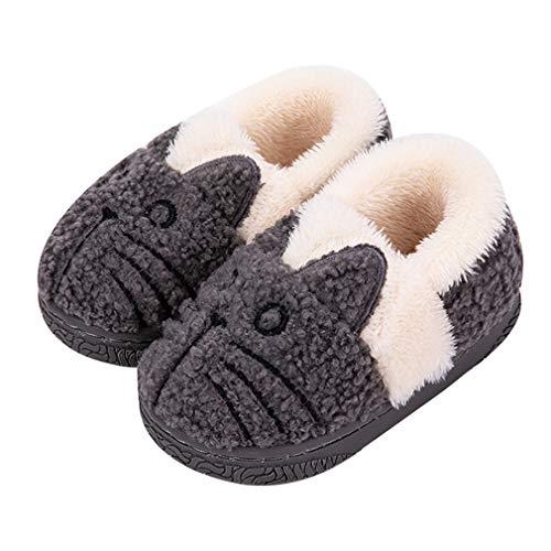 KVbabby Hausschuhe Mädchen Pantoffeln Plüsch Jungen Baumwolle Pantoffeln Kinder Wärme Katze Weiche Hausschuhe Damen Winter Cartoon Leicht rutschfeste Slippers 32-33 EU (Etikettengröße: 22)