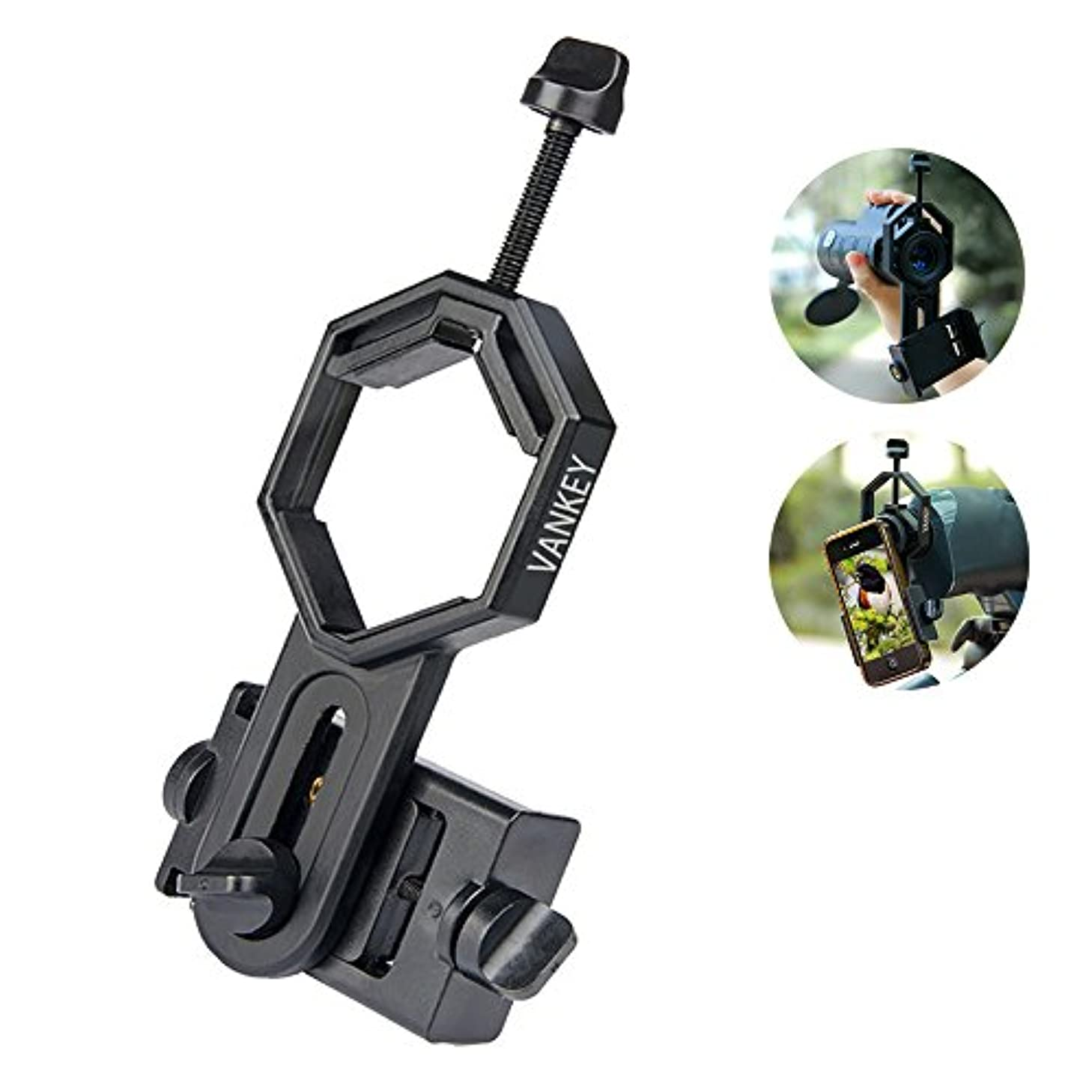 Vankey Cellphone Telescope Adapter Mount, Work with Binocular Monocular Spotting Scope Microscope for iPhone, Samsung, HTC, LG and More