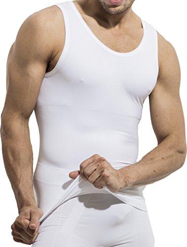 UnsichtBra Shapewear Unterhemd Herren | Body Shaper Funktionsshirt Herren | Bauchweg Kompressionsshirt Herren Weiss o. schwarz (sw_7100)(L, Weiss)
