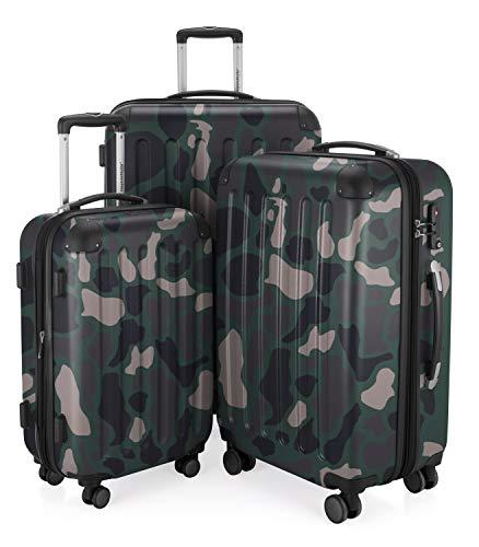 HAUPTSTADTKOFFER - Spree - 3er Koffer-Set Trolley-Set Rollkoffer Reisekoffer Erweiterbar, TSA, 4 Rollen, (S, M & L), Camouflage