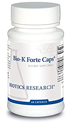 Biotics Research Bio-K Forte Caps ® Vitamin K (as meaquinone-7, phytonadione), Combination K1 + MK-7 in a 10:1 Ratio. High Potency Vitamin K with SOD and Catalase 60 caps