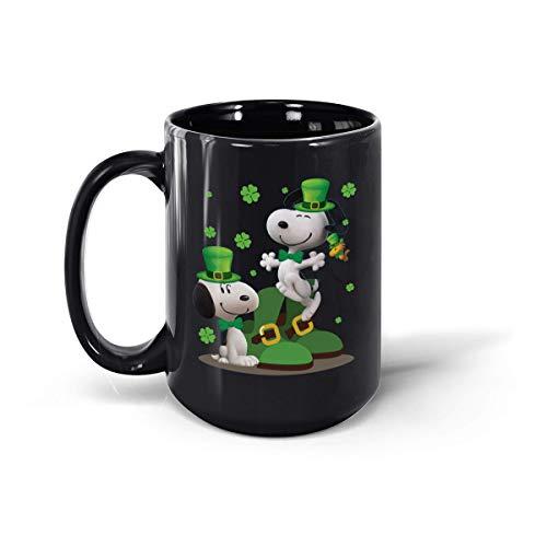 Snoopy St Patrick's Day divertente tazza in ceramica, 311,8 ml e 425,2 g (nero, 425,2 g)