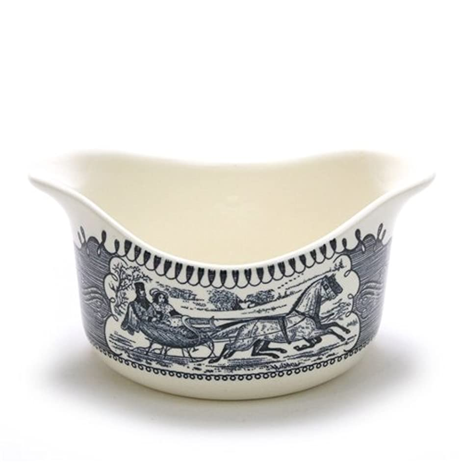 Currier & Ives Blue by Royal, China Gravy Boat