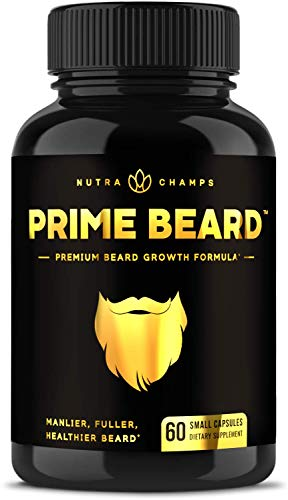 Prime Beard Beard Growth Vitamins Supplement for Men - Thicker, Fuller, Manlier Hair - Scientifically Designed Pills with Biotin, Collagen, Zinc & More! - for All Facial Hair Types - Natural Capsules