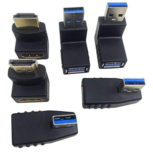 AFUNTA 4 Pz Adattatore USB 3.0 Convertitore Spina e 2 Pz HDMI Maschio a Femmina, Connettore USB Adattatore Estensione Destra/Sinistra/Giù Angolo Convertitore Spina 90 & 270 Gradi Connettore HDMI