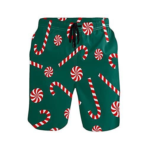 N\O - Costume da bagno da uomo, motivo natalizio, con canna da zucchero, da spiaggia - - Medium