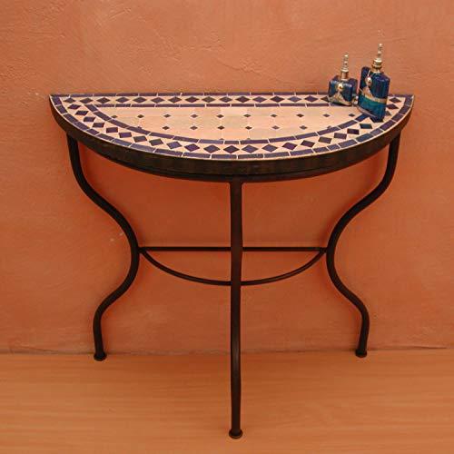 Casa Moro Mosaik-Konsole Raute Blau-Terracotta 71x80x30 (H/B/T) cm halbrund   Marokkanischer Mosaiktisch Beistelltisch   Ideal für Balkon Terrasse Wohnzimmer   MT2008