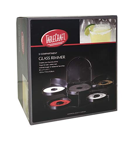 Tablecraft Glass Rimming Station with 5-Swing Out Trays (H5633), 2.3, Black