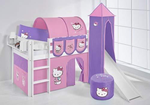 Lilokids Lit Mezzanine JELLE Hello Kitty Lilas - lit d'enfant Blanc - avec Toboggan, Tour et Rideau - lit 90x200 cm