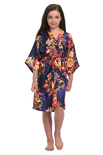 Product Image of the Floral Satin Kimono Robes for Girls Getting Ready Robes for Wedding Party Navy