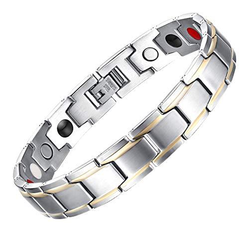 JFUME Mens Magnetic Therapy Bracelets 18K Plated Gold Silver Color Stainless Steel Link Bracelet for Men 8.5' Adjustable with Link Removal Tool