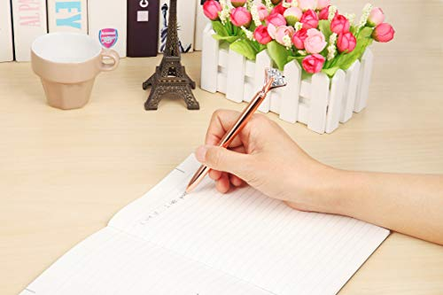MengRan Pen + 5 Refills Rose Gold Pen with Big Diamond/Crystal -Metal Ballpoint Pen Rose Gold Office Supplies -Black Ink (rose gold) Photo #6