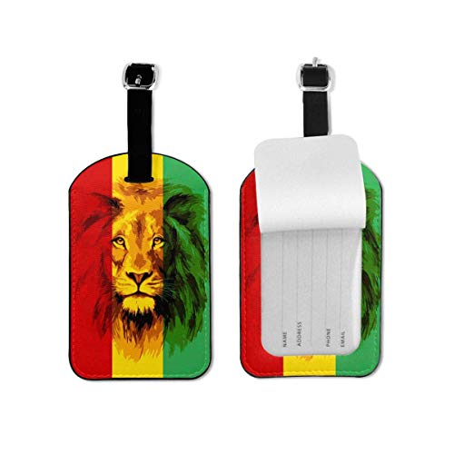 Reggae Rasta Flag Lion King Leather Cruise Luggage Bag Tags Travel Suitcases Tags Resealable Bag Tags with Adjustable Wrist Strap Baggage Name Tags,3D Print Suitcase Labels Privacy Tag