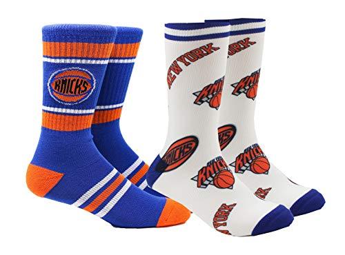 PKWY New York Knicks NBA Unisex 2-Pack Crew Socks (Large (Men's 6-12/Women's 8-12), Stripe & Panel Crew)