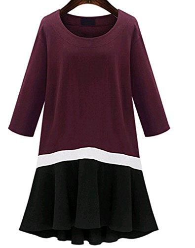 YALI Lockeres Plissee-Kleid, Karten-Farbe, XXXL.