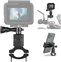 Bike Camera Handlebar Mount with Motorcycle Phone Mount Holder for GoPro Hero 9 8 7 6 5 4 Session, Action Camera, OSMO, Canon, iPhone 11 12 Pro XS Max, 360°Rotation Stable Mountain Bicycle Accessories