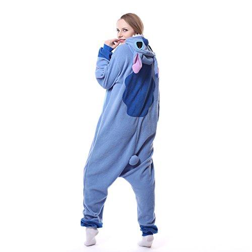 Blauer Pyjama für Erwachsene aus warmem Flanellstoff, Einteiler, Stitch-Design, Unisex Blue New Stitch - 3
