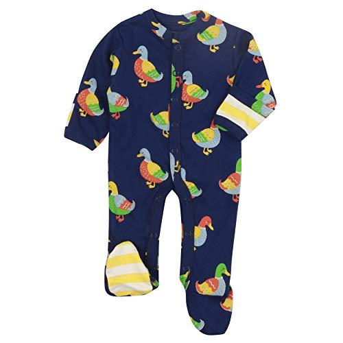 Piccalilly - Tutina con piedi in morbido jersey di cotone biologico senza sostanze chimiche, stampa di anatra blu per neonata + bambino Blu 18-24 Mesi