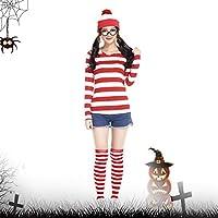 ウォーリー コスプレ 仮装 ウォーリーを探せ ハロウィン コスチューム ハロウィン 衣装 ウォーリー風… (S, 女性)