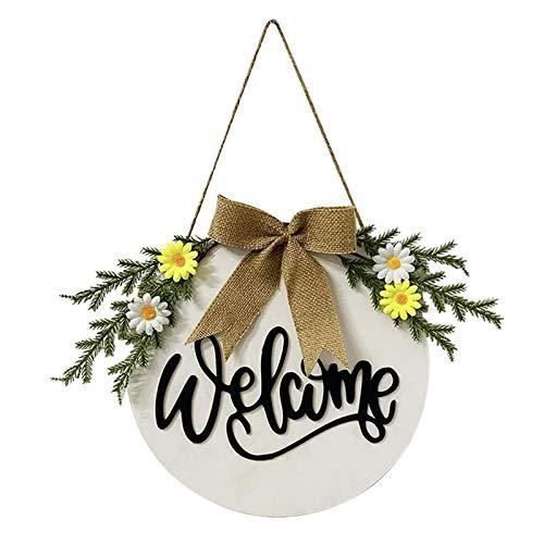 """POHOVE - Ghirlande di benvenuto da 30 cm per porta anteriore, 3D con scritta """"Hello or Welcome Sign"""", in legno rustico da appendere per la porta esterna, per casa, ufficio"""