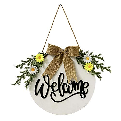 POHOVE - Ghirlande di benvenuto da 30 cm per porta anteriore, 3D con scritta 'Hello or Welcome Sign', in legno rustico da appendere per la porta esterna, per casa, ufficio