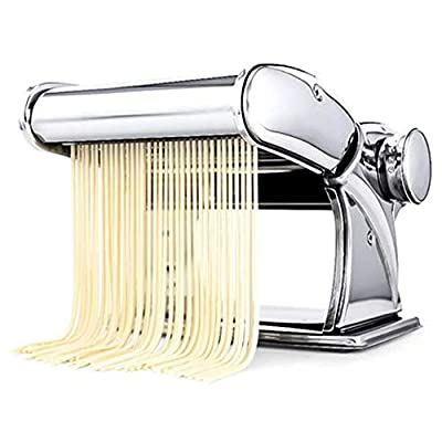 WERTY Sturdy Homemade Pasta Maker Manual Noodle Maker All in one 7 Thickness Settings for Fresh Fettuccine Spaghetti Manual Pasta Machines